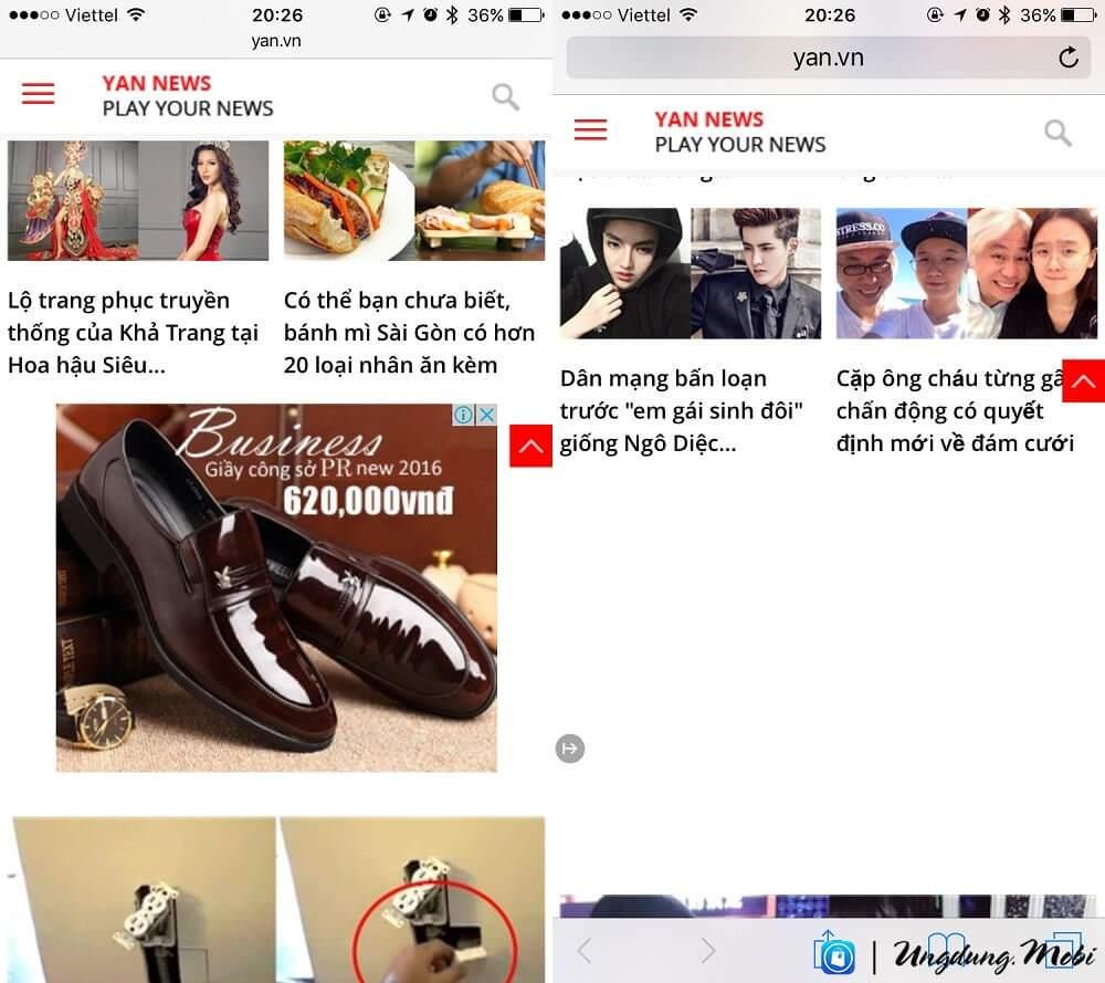 Trước và sau khi sử dụng Adblock: Web yan.vn